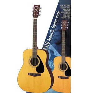 Acoustic guitar package with F310 guitar, Korg digital tuner, gig bag, picks, strings, capo, pitch pipe, string winder and strap.